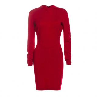 Alaia Red Vintage Fitted Wool Blend Mini Dress