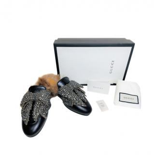 Gucci Crystal Bow Embellished Fur Lined Princetown Slippers