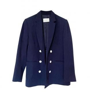 Sandro Blue Double Breasted Woven Jacket