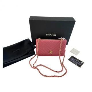 Chanel Pink Chevron Leather Trendy Wallet on Chain