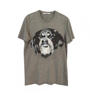 Givenchy Men's Grey Rotweiler Print T-Shirt