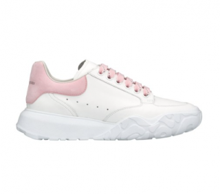 Alexander McQueen Pastel Pink/White Chunky Court Sneakers