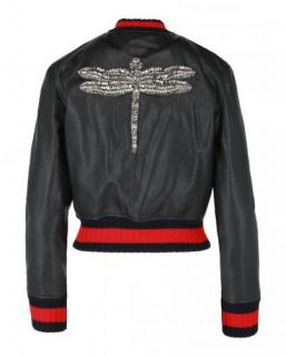 Gucci Dragonfly Embroidered Black Leather Jacket