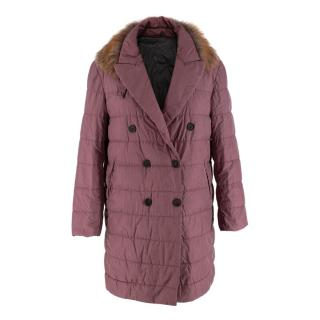 Brunello Cucinelli Mauve Silk Down Filled Quilted Coat with Fox Trim