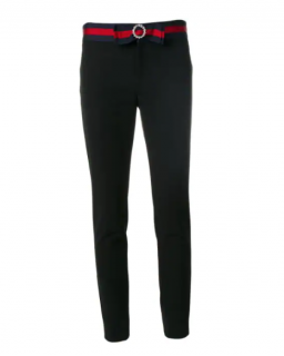 Gucci Black Fitted Pants with Crystal Sylvie Web Waist