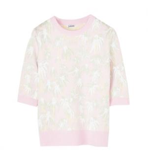 Loewe Pink & Green Daisy Jacquard Knit Top