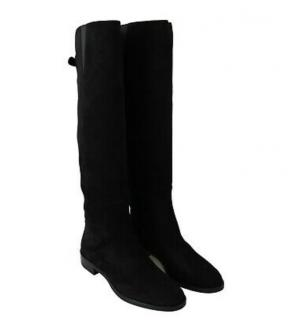 Dolce & Gabbana Black Suede Flat Knee Boots
