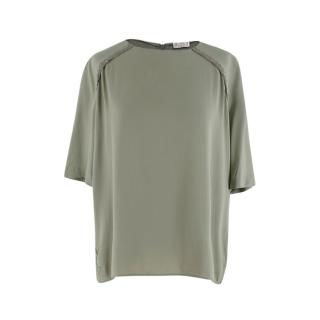 Brunello Cucinelli Sage Silk Beaded Short Sleeve Top