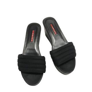 Prada Black Platform Nylon Slides