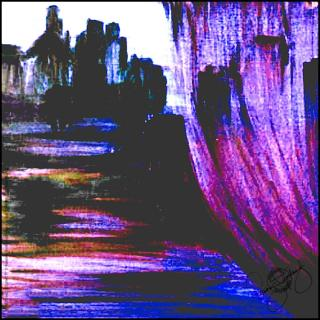Rosemary Goodenough Purple River Through A Curtain IV Scarf