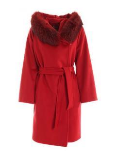 Max Mara Studio Red Fox Fur Trim Hooded Mango Coat