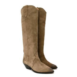 Isabel Marant Denvee Taupe Suede Knee-High Boots