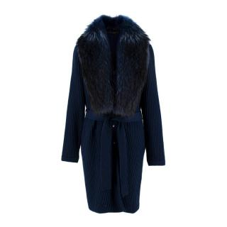 Versace Navy Wool Ribbed Knit Raccoon Collar Belted Cardigan