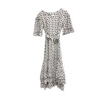 Lisa Marie Fernandez Floral Black & White Tiered Dresss