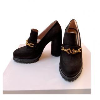 Max Mara Black Suede High Heeled Loafers