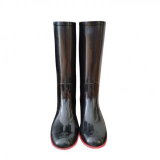 Chanel Black & Pink Rubber Wellies
