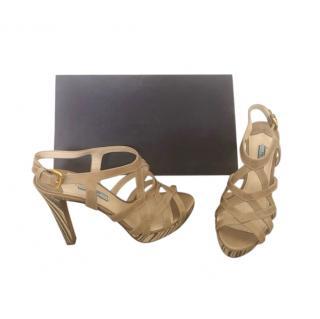 Prada Nude Platform Strappy Sandals