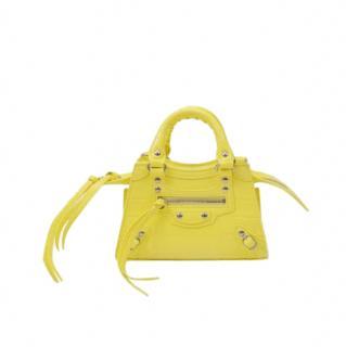 Balenciaga Yellow Croc Embossed Neo City Nano Bag