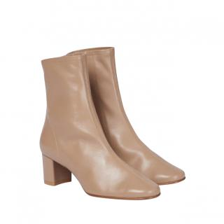By Far Camel Leather Sofia Ankle Boots