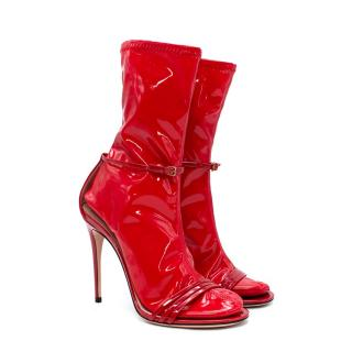 Gucci Ilse Red Patent Leather Latex Sock Sandals