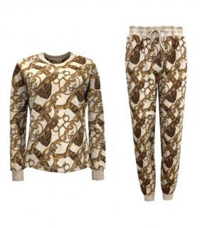 Hermes Camelhair & Cotton Blend Brides De Cour Loungewear Set