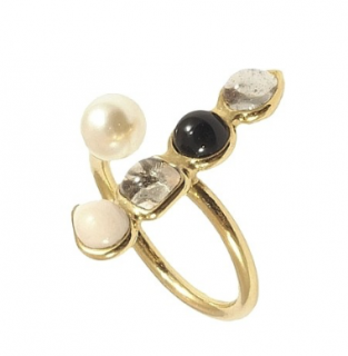 Gripoix Paris Poured Glass Gold Plated Open Ring