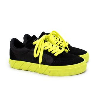 Off-White Vulcanised Black Suede & Neon Yellow Low Top Sneakers