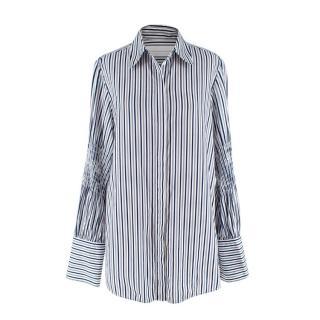 Victoria Victoria Beckham Navy & White Striped Cotton Shirt