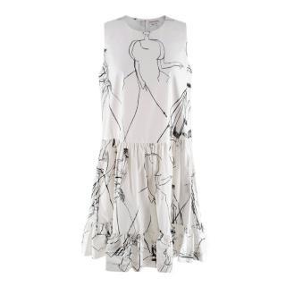 Alexander McQueen White Cotton Sketch Print Babydoll Dress