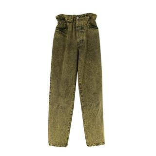 Miu Miu Yellow Acid Wash Paperbag Waist Denim Jeans