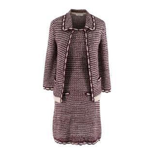 Christian Dior Burgundy & Ivory Silk-Blend Crochet Dress & Jacket Set