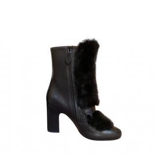 Hermes Black Mink Fur & Leather Ankle Boots