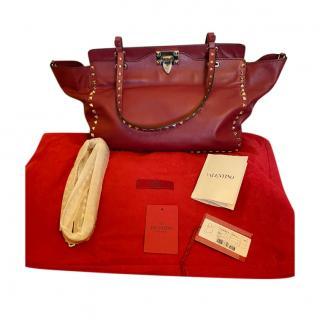 Valentino Garavani Red Rockstud Trapeze Tote Bag