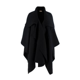 Burberry Black Cashmere-Blend Rib Collar Cape