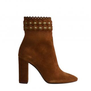 Saint Laurent Brown Studded Suede Lou 95 Ankle Boots