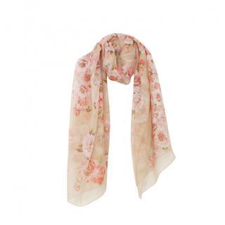 Max Mara Floral Print Silk Scarf