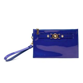 Versace Royal Blue Patent Leather Pouch with Strap