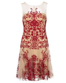 Marchesa Nude & Red Embroidered Tulle A-Line Dress