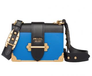 Prada Bright Blue Leather Cahier Crossbody Bag