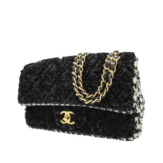 Chanel Black & Houndstooth Tweed Classic Flap Bag