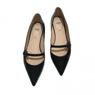 Fendi Black Patent Flat Mary-Janes
