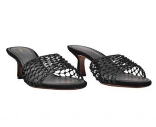 Neous Lerna Black Netted Slip On Mules
