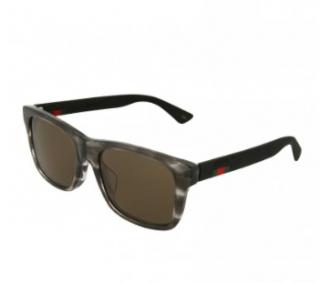 Gucci GG0008SA Grey Marble Effect Square Sunglasses
