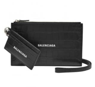 Balenciaga Black Croc Embossed Cash Pouch Card Holder