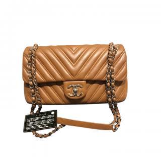 Chanel Caramel Brown Chevron Leather Flap Bag