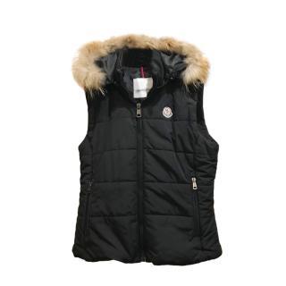 Moncler Black Down Fur Trim Black Down Gilet
