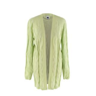 M Missoni Light Green Linear Rib Knit Cardigan