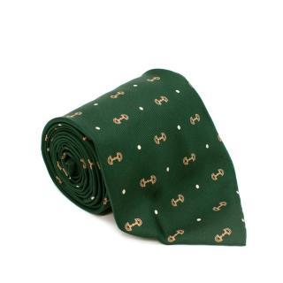 Gucci Emerald Green Silk Twill Horsebit Print Tie