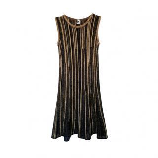 M Missoni Black & Gold Knit Sleeveless Dres