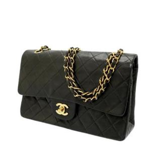 Chanel Vintage Classic Lambskin Black Double Flap Bag